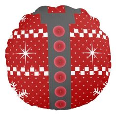 Ugly Christmas Sweater Reversible Design Round Throw Pillows. http://www.zazzle.com/ugly_christmas_sweater_reversible_design-256857863609727105?rf=238575087705003771