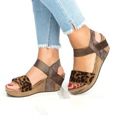 748e28f0f5a2 ELASTIC BAND ANKLE STRAP WEDGE HEEL OPEN TOE PATCHWORK WEDGE SANDALS  Wedge  Sandals  Leatrend