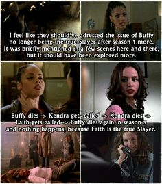 Not sure what I think about this theory . ..Buffy was the one with true slayer responsibility . ..