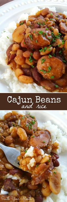 Cajun Beans & Rice! Much like Red Beans & Rice but made with a 15 Bean mix and andouille sausage. Recipe also includes crock pot preparation.: