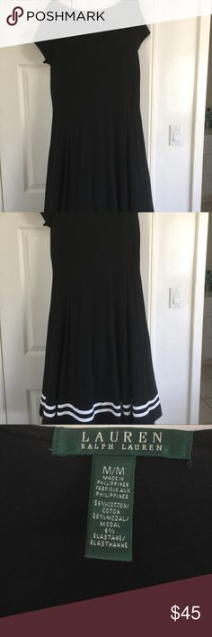 Ralph Lauren black dress size M. White detail Beautiful black Ralph Lauren dress with white detail across bottom. Flattering fit with scoop neckline. Worn once to a meeting and just don't have a need for another black dress! Size M and classic Lauren beautiful quality Lauren Ralph Lauren Dresses Midi