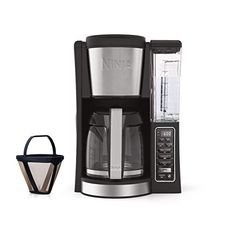 Ninja® Coffee Brewer is a programmable coffee maker with Classic & Rich strengths and removable water reservoir. Conveniently carry the 60 oz. removable water reservoir from the coffee brewer to your sink for easy filling. Dual Coffee Maker, Ninja Coffee Maker, Best Drip Coffee Maker, Coffee Maker Reviews, Latte Machine, Brewing Tea, Great Coffee, Black Stainless Steel, Coffee Cups