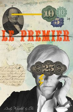 Collage of Andy Warhol, pop art, collage art.