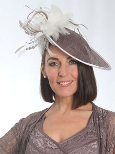 Cappuccino Ivory Feathers Mid Hatinator from Chesca Accessories