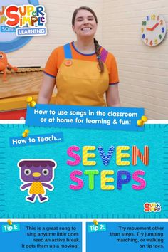 """""""Seven Steps"""" is a simple counting song for preschoolers, kindergarteners, ESL/EFL learners, young homeschoolers, or any young children. Join Caitie as she demonstrates the song, shows you how to lead your classroom, and provides fun ideas to help you extend on the song and make it fun for kids. Preschool Songs, Kids Songs, Preschool Crafts, Montessori Toddler, Toddler Preschool, Toddler Activities, Counting Songs, Early Math, English Language Learners"""
