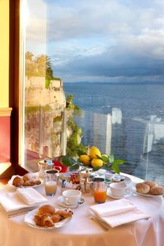 Breakfast by the sea in Sorrento, Italy