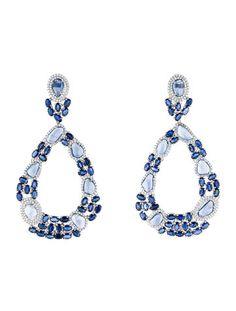 18K Sapphire & Diamond Large Drop Earrings