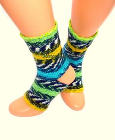 Green Blue Yellow Hand Knit Yoga Socks Green Blue Knit