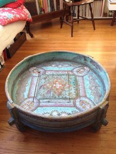 Large Wooden Hand Painted Chakki Table