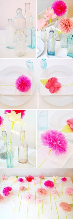 We love things that can do double-duty, and these adorable paper flowers do just that and then some: they're seating cards, centerpieces, and favors! These pretty blooms are perfect for a whimsical wedding, a bridal luncheon or shower, and can be made in any color.  You can put a flower on each place setting, or spread them out together on a table for guests to see when they arrive. Set empty vintage bottles on each table for guests to pop the flower into when they sit down....