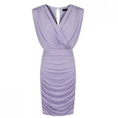 JS Sexy Lady's Body-Hugging Purple Spandex V Collar Mini Dress