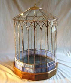 stained glass wardian case terrarium
