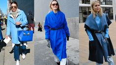 Shades of the color, such as vibrant sapphire, powder blue and mysterious midnight blue, are popular this winter.
