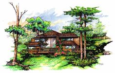 bungallows m color by icarosteel on DeviantArt Architecture Details, Landscape Architecture, Prismacolor, Architecture Sketchbook, Interior Sketch, Dream House Exterior, Beautiful Drawings, M Color, Layout