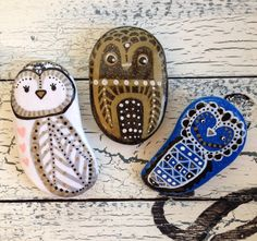 Owl handmade Painted Clay Magnets by Arhyme on Etsy, $22.00 #Owl #OwlMagnet #HandpaintedOwl #Owls #ClayOwls