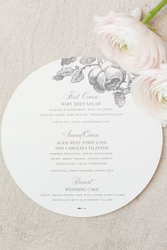 Wedding Menu Hotel Monaco Dc Birds Of A Feather Photography