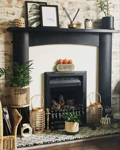 Looking for fireplace inspo! Look no further. Check out the cute little halloween and autumn details added here!We love the add of our bamboo lanterns too!