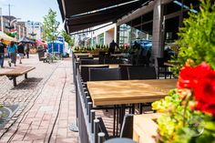 Terrace furniture made from larch tree. Brings summer feeling and central European atmosphere to the urban environment. Local Bistro, Larch Tree, Summer Feeling, Custom Woodworking, Rustic Interiors, Furniture Making, Terrace, Restaurant, Interior Design