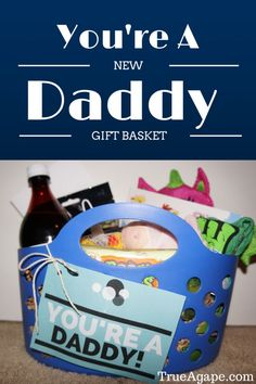 """{You're a New Daddy Gift Basket   True Agape Newlywed Blog} When getting everything ready for our baby's arrival I read that Dad's can feel a bit left out. A lot of the attention is on Mom and baby. I then saw a suggestion of getting a special little something for Dad. That's when I had an idea to make a """"You're A New Daddy Gift Basket"""""""