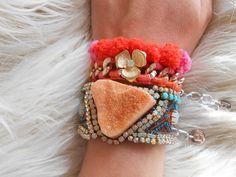 Oranje Agaat armband, Druzy Agaat armband van Lanche Jewelry op DaWanda.com