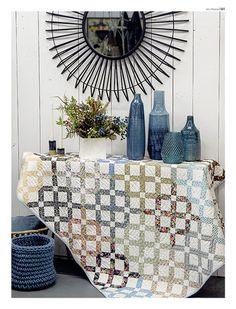 Lattice Garden 135 GB.indd Lattice Garden, International Quilt Festival, Australian Homes, Quilt Patterns, Blue And White, Throw Pillows, Magazine, Quilts, Blanket