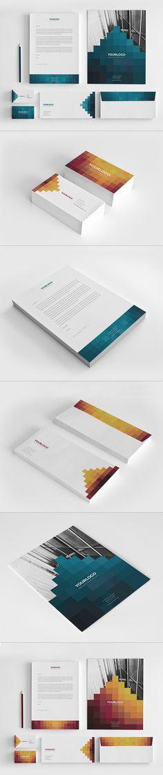 Pixels Stationary Pack by Abra Design, via Behance #branding #identity