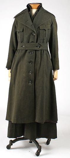 This is a 1918 womans military uniform. It is apart of the American culture. This uniform is made of both wool and silk. For many involved in the services, uniform became standard wear and was worn with great pride. Uniforms were worn as day wear.