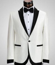 White Jacket Black Pants One Button Groom Tuxedos Best Man Peak Lapel Groomsman Wedding Suits Bridegroom (Jacket Pants Tie)