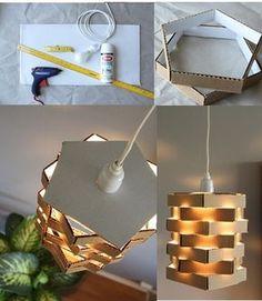 Olha esta luminária com papelão daquele bem grosso! E veja mais 7 ideias neste post!