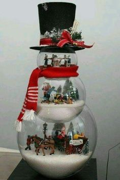 Fish bowl stacked snowman themes. Love this.