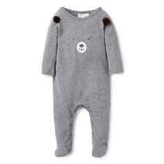 100% Cotton Jumpsuit. Jersey, long sleeve jumpsuit with feet. Features animal face placement print on front with applique ears. Regular fitting silhouette with snaps on baby's left shoulder and at gusset for easy dressing. Available in colour shown.