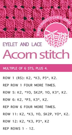 Diy Crafts - howtoknit,knitlace-Learn How To Knit the Acorn stitch. The stitch would be great for purses, ties, and hats! Baby Knitting Patterns, Knitting Stiches, Crochet Stitches Patterns, Easy Knitting, Loom Knitting, Knitting Needles, Stitch Patterns, Knit Stitches, Knitting Machine