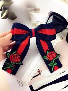 Free shipping new 2017 WOMAN female lady fashion Korean Embroidery Rose striped bow brooch shirt collar tie dress Headdress