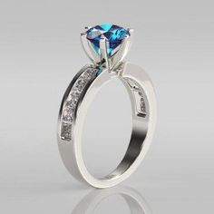 Round Cut Aquamarine Rhodium Plated 925 Sterling Silver Engagement Ring