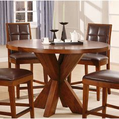 This Counter Dining Set includes includes: six chairs, one table. This handsome dining set features solid ash construction with beautiful ash veneers and bi-cast leather upholstery. This dining set table top features sunburst veneer pattern. Wooden Dining Tables, Dining Table Chairs, Dining Room Furniture, Dining Set, A Table, Bar Furniture, Round Dining, Dining Rooms, Butcher Block Countertops