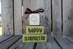 St Patrick's Day Chunky Wood Block Stacker  by jodyaleavitt, $16.95
