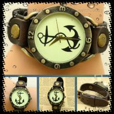 Reloj Ancla de cuero - 12€ Ref: R100