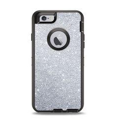 The Silver Sparkly Glitter Ultra Metallic Apple iPhone 6 Otterbox Defender Case Skin Set
