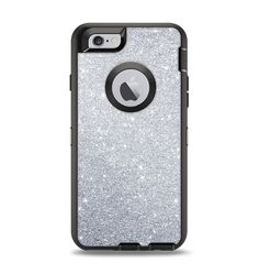 The Silver Sparkly Glitter Ultra Metallic Apple iPhone 6 Otterbox Defender Case Skin Set