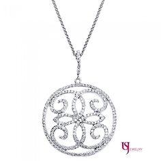 0.95 Carat Scroll Design Round Cut Diamond Encrusted Rolo Chain Pendant 14k Gold