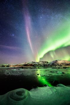"""Aurora on ice by Frank Olsen on 500px. """"The Pleiades are clearly visible. And Andromeda galaxy, as well."""""""