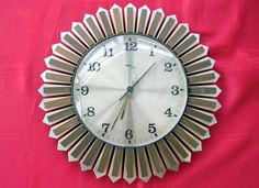 Vintage Retro 1960's Avia Teak Sunburst Wall Clock