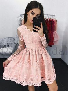 Newest A-Line V-Neck Long Sleeves Short Pink Lace Homecoming Dress, Appliques Homecoming Dress, HD0317