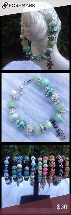 Green Beaded Bracelet Green, glass beads, 7 inch bracelet. Angel charm and Lobster claw clasp. Perfect for all occasions.  Handmade by me.  Picture #3 shows more bracelets available in separate listings. Jewelry Bracelets