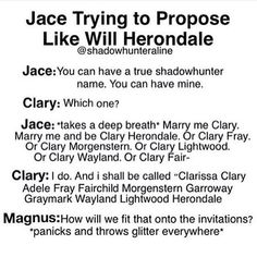 Marrying proposal Jace-Clary Hillarious!!