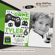 Video Game Party Invitation Video Game Birthday Party Printable Green Black Invitation Game Truck party