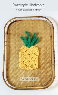 Crochet Pineapple Washcloth and Applique - free pattern