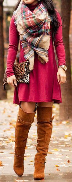 Burgundy, Plaid & OTK Boots ❤︎ #winterfashion #streetstyle