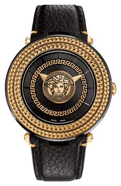 Versace 'V-Metal Icon' Round Leather Strap Watch, 46mm available at #Nordstrom