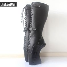 "89.69$  Watch here - http://ali77w.shopchina.info/1/go.php?t=32817866858 - ""jialuowei 18cm/7"""" Ultra High Hoof Heels Lockable Padlocks Fetish Sexy Pinup Lace Cross-tied Knee-High Ballet Boots for Women ""  #aliexpresschina"